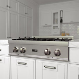 Porcelain Rangetop in Snow Stainless with 4 Gas Burners (RTS-30)  ZLINE 30 in. - America Best Appliances, LLC