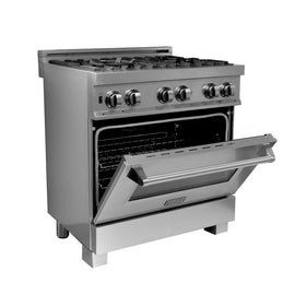 Professional Dual Fuel Range in Snow Stainless with Snow Stainless Door (RAS-SN-30) ZLINE 30 in. - America Best Appliances, LLC