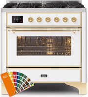 "Majestic II Series Dual Fuel LP Range with 6 Burners  3.5 cu. ft. Oven Capacity  TFT Oven Control Display  Brass Trim  in Custom RAL Color UM096DNS3RALGLP  36"" - America Best Appliances, LLC"