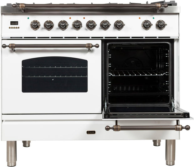 "Nostalgie Series Dual Fuel Natural Gas Range with 5 Sealed Brass Burners  3.55 cu. ft. Total Capacity True Convection Oven  Griddle  with Bronze Trim  in White UPDN100FDMPBY 40"" - America Best Appliances, LLC"