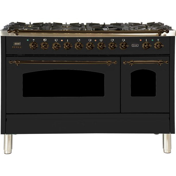 "Nostalgie Series Dual Fuel Liquid Propane Range with 7 Sealed Burners  5 cu. ft. Total Capacity True Convection Oven  Griddle  with Bronze Trim  in Matte Graphite  UPN120FDMPMYLP 48"" - America Best Appliances, LLC"