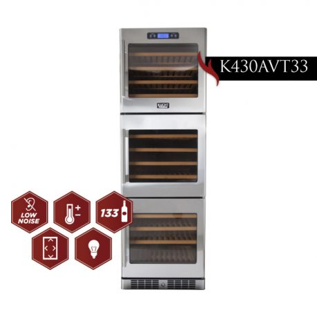 Kucht 24 inch Professional 133-Bottle Tri Zone Wine Cooler (three doors in line)  K430AVT33 - America Best Appliances, LLC