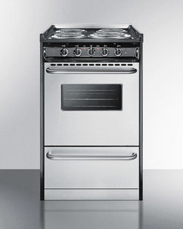 Summit 20 in. 2.5 cu. ft. Slide-In Electric Range in Stainless Steel TEM110BRWY - America Best Appliances, LLC