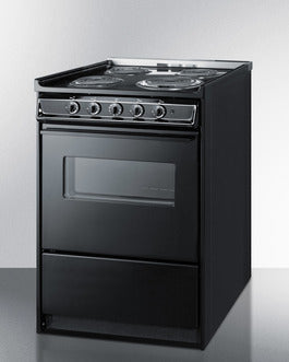 "Summit TEM610CRW 36"" x 24"" x 24"" Black ADA Electric Range with a 2.92 Cu. Ft. Oven, 4 Burners - 220 Volts - America Best Appliances, LLC"