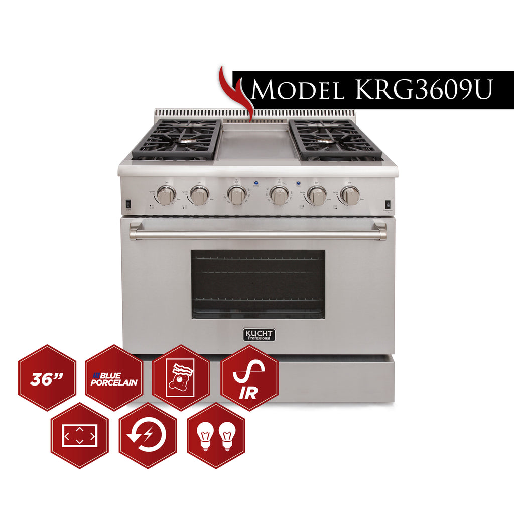 "Kucht 36"" Professional  Natural Gas Range with 4 burners and griddle KRG3609U - America Best Appliances, LLC"