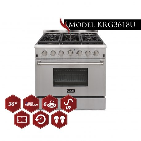"Kucht KRG3618U Professional 36"" 5.2 cu. ft. Gas Range Stainless-Steel - America Best Appliances, LLC"