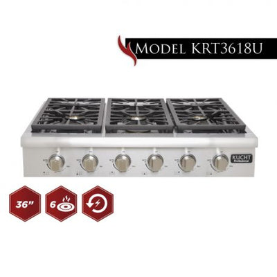 Kucht Professional 36 Inch Gas Sealed Burner Rangetop Stainless Stell  KRT3618U - America Best Appliances, LLC