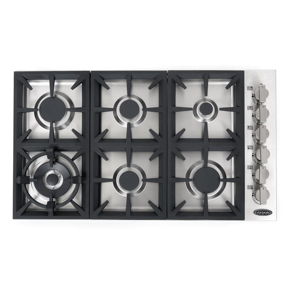 Cosmo 36 inch.  Gas Cooktop in Stainless Steel with 6 Italian Made Burners COS-DIC366 - America Best Appliances, LLC