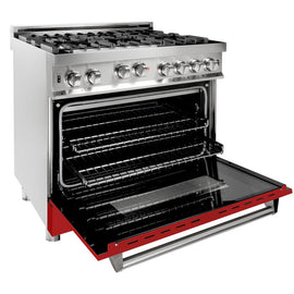 Professional Gas on Gas Range in Stainless Steel with Red Matte Door (RG-RM-36) ZLINE 36 in. - America Best Appliances, LLC