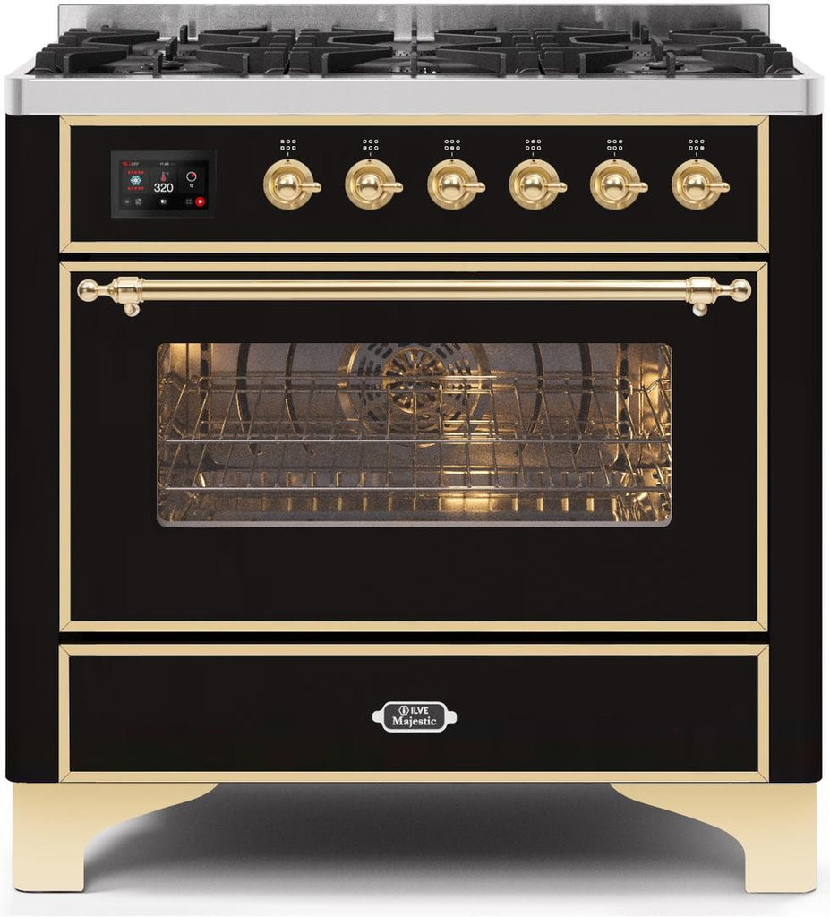 "Majestic II Series Dual Fuel Range with 6 Burners   3.55 cu. ft. Oven Capacity   Gold Trim   in Glossy Black""UM096DNS3BKG 36 - America Best Appliances, LLC"