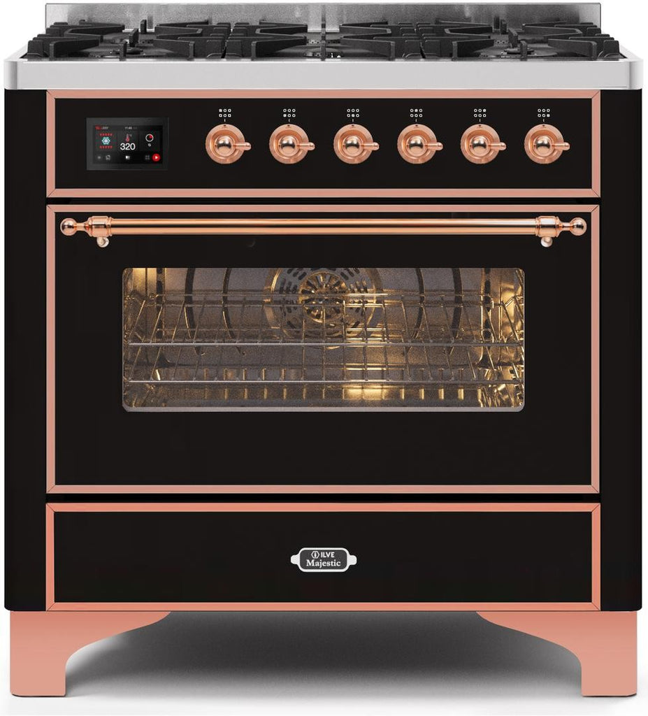 "Majestic II Series Dual Fuel Range with 6 Burners   3.55 cu. ft. Oven Capacity   Copper Trim   in Glossy Black""UM096DNS3BKP 36 - America Best Appliances, LLC"