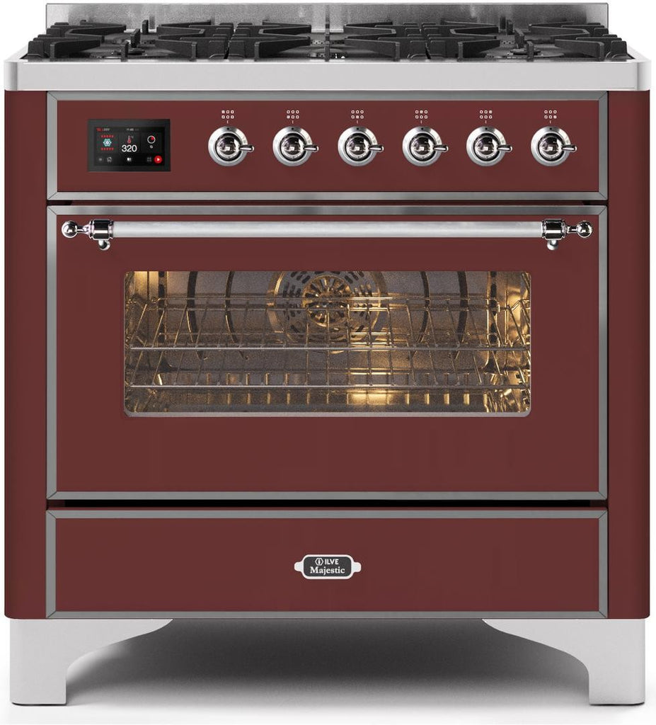"Majestic II Series Dual Fuel Range with 6 Burners   3.55 cu. ft. Oven Capacity   Chrome Trim   in Burgundy""UM096DNS3BUCLP 36 - America Best Appliances, LLC"