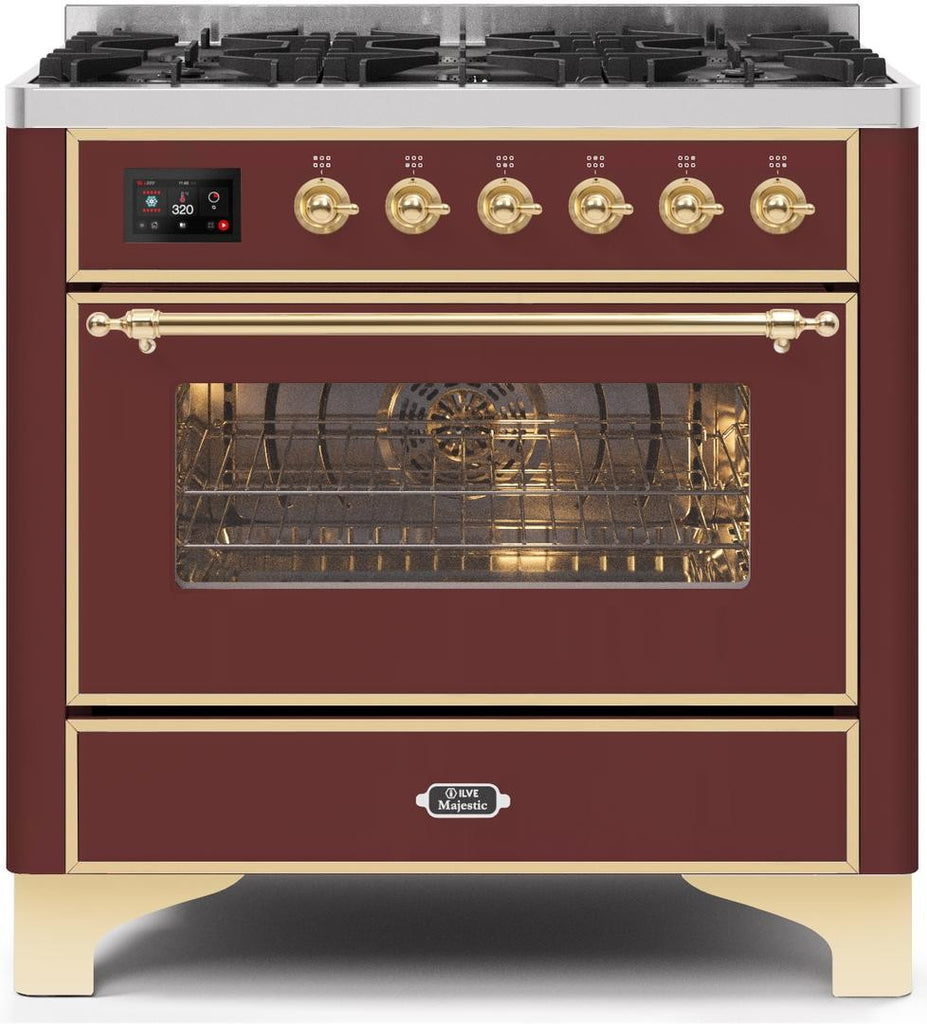 "Majestic II Series Dual Fuel Range with 6 Burners  3.55 cu. ft. Oven Capacity  Brass Trim   in Burgundy""UM096DNS3BUGLP 36 - America Best Appliances, LLC"