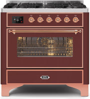 "Majestic II Series Dual Fuel Range with 6 Burners   3.55 cu. ft. Oven Capacity   Copper Trim  in Burgundy""UM096DNS3BUP 36 - America Best Appliances, LLC"