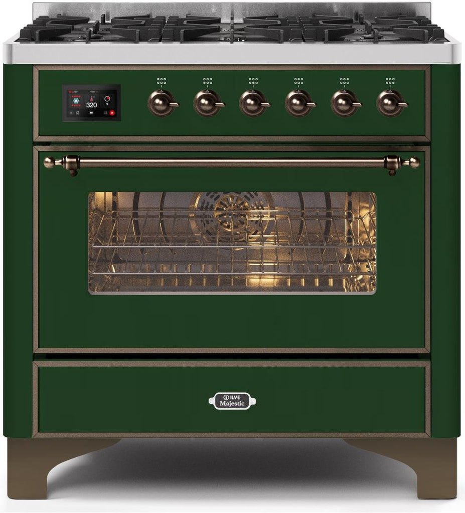 "Majestic II Series Dual Fuel Range with 6 Burners   3.55 cu. ft. Oven Capacity   Bronze Trim   in Emerald Green""UM096DNS3EGB 36 - America Best Appliances, LLC"