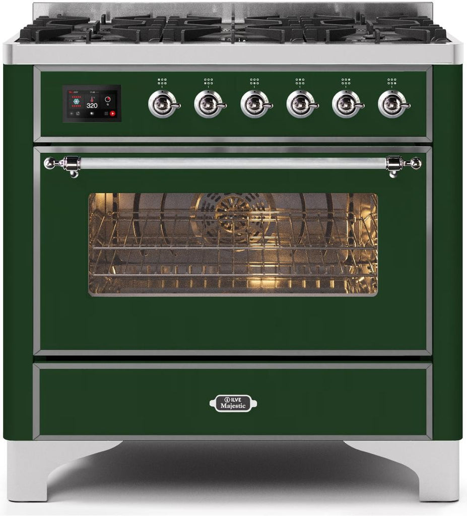 "Majestic II Series Dual Fuel Range with 6 Burners   3.55 cu. ft. Oven Capacity   Chrome Trim   in Emerald Green""UM096DNS3EGCLP 36 - America Best Appliances, LLC"