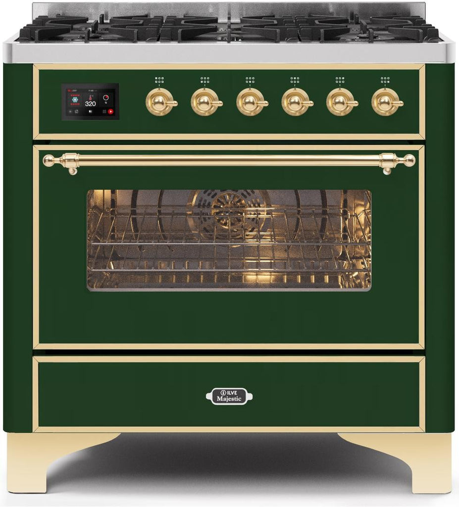 "Majestic II Series Dual Fuel Range with 6 Burners   3.55 cu. ft. Oven Capacity   Gold Trim   in Emerald Green""UM096DNS3EGG 36 - America Best Appliances, LLC"