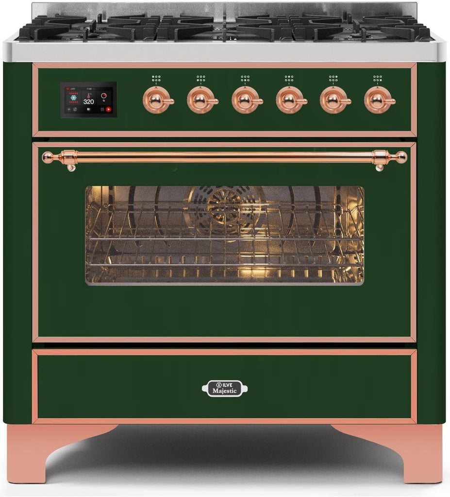 "Majestic II Series Dual Fuel Range with 6 Burners   3.55 cu. ft. Oven Capacity   Copper Trim   in Emerald Green""UM096DNS3EGPLP 36 - America Best Appliances, LLC"