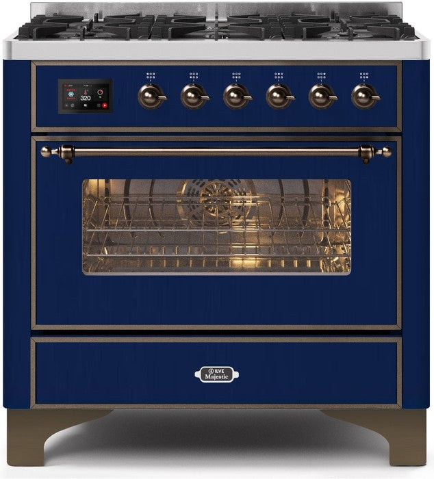 "Majestic II Series Dual Fuel Range with 6 Burners   3.55 cu. ft. Oven Capacity   Bronze Trim   in Midnight Blue""UM096DNS3MBBLP 36 - America Best Appliances, LLC"