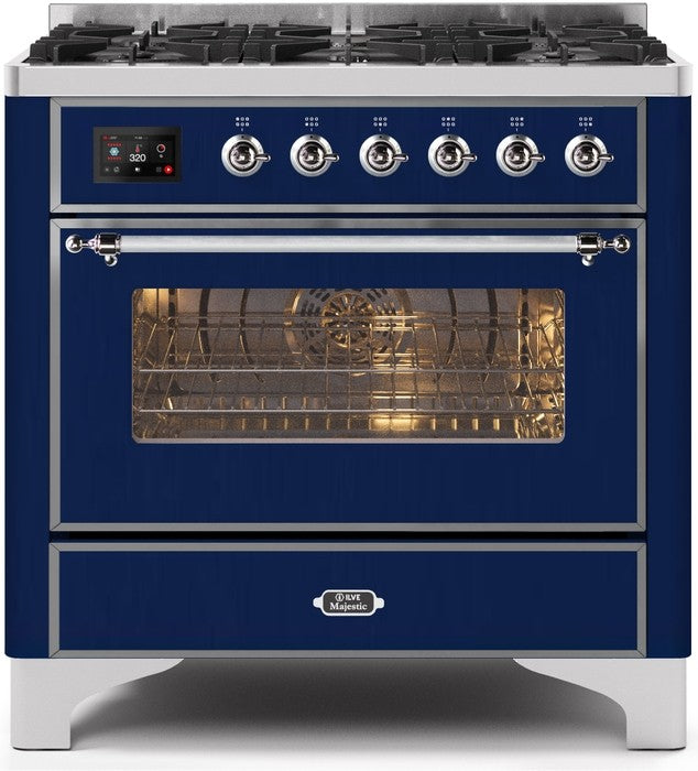 "Majestic II Series Dual Fuel Range with 6 Burners   3.55 cu. ft. Oven Capacity   Chrome Trim   in Midnight Blue""UM096DNS3MBCLP 36 - America Best Appliances, LLC"