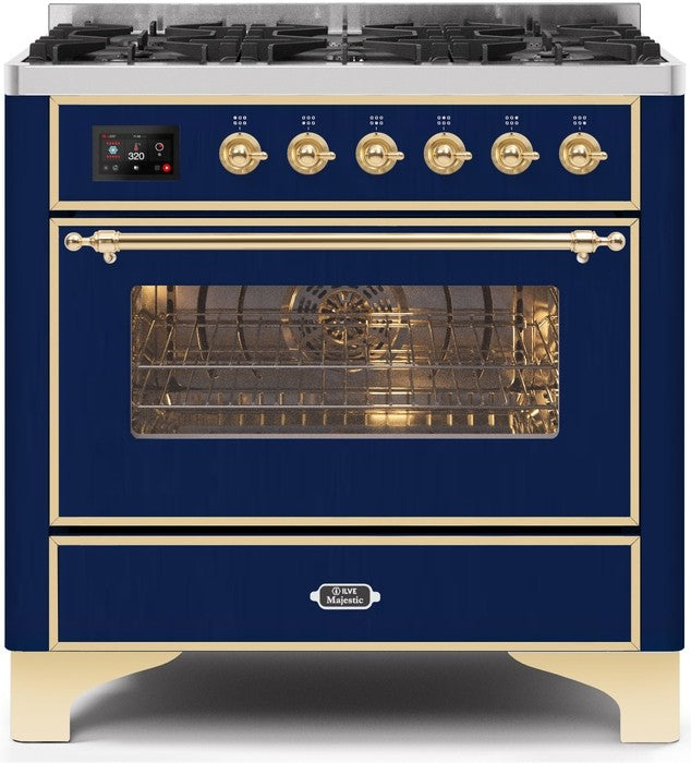 "Majestic II Series Dual Fuel Range with 6 Burners   3.55 cu. ft. Oven Capacity   Gold Trim   in Midnight Blue""UM096DNS3MBG 36 - America Best Appliances, LLC"