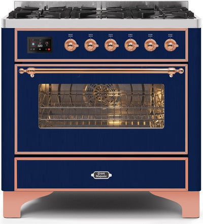 "Majestic II Series Dual Fuel Range with 6 Burners   3.55 cu. ft. Oven Capacity   Copper Trim   in Midnight Blue""UM096DNS3MBP 36 - America Best Appliances, LLC"