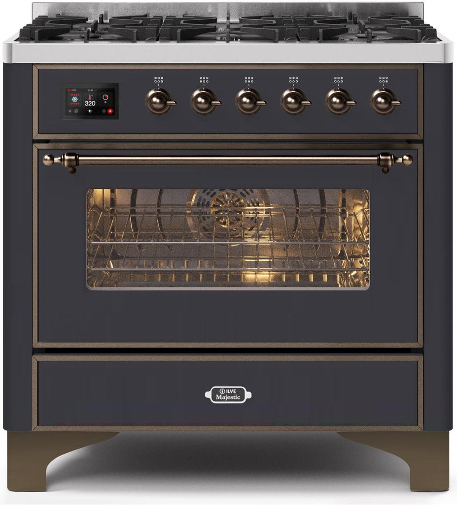"Majestic II Series Dual Fuel Range with 6 Burners   3.55 cu. ft. Oven Capacity   Bronze Trim   in Matte Graphite"" UM096DNS3MGBLP 36 - America Best Appliances, LLC"