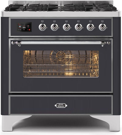 "Majestic II Series Dual Fuel Range with 6 Burners   3.55 cu. ft. Oven Capacity   Chrome Trim   in Matte Graphite"" UM096DNS3MGC 36 - America Best Appliances, LLC"