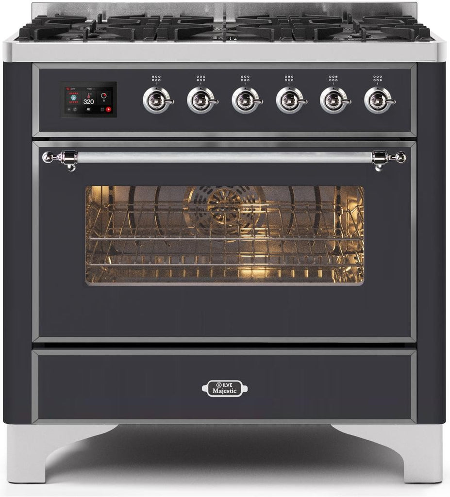 "Majestic II Series Dual Fuel Range with 6 Burners   3.55 cu. ft. Oven Capacity   Chrome Trim   in Matte Graphite"" UM096DNS3MGCLP 36 - America Best Appliances, LLC"