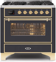 "Majestic II Series Dual Fuel Range with 6 Burners   3.55 cu. ft. Oven Capacity   Gold Trim   in Matte Graphite""UM096DNS3MGG 36 - America Best Appliances, LLC"