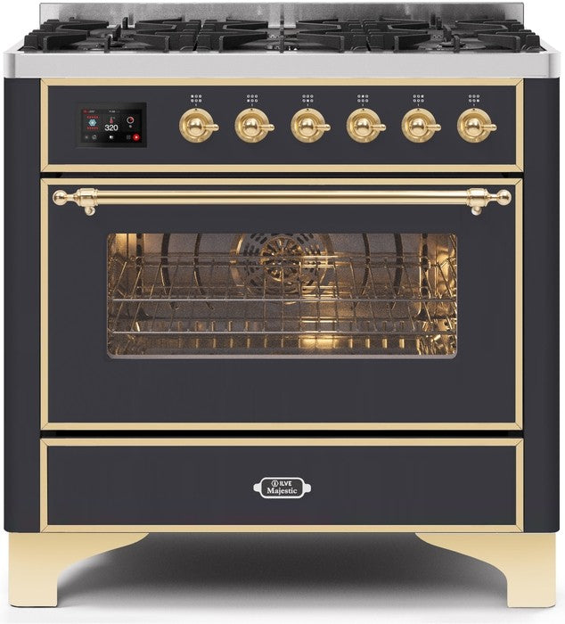 "Majestic II Series Dual Fuel Range with 6 Burners   3.55 cu. ft. Oven Capacity   Brass Trim   in Matte Graphite"" UM096DNS3MGGLP 36 - America Best Appliances, LLC"