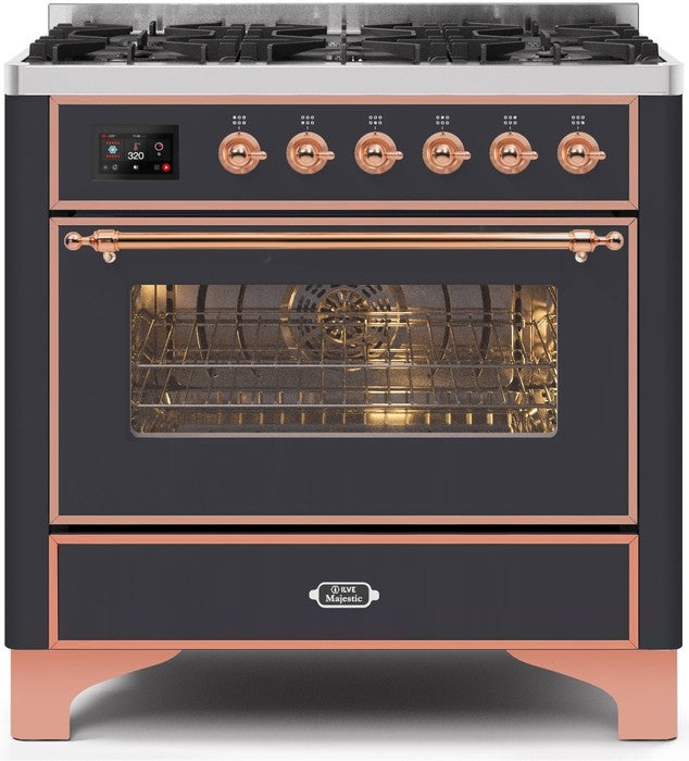 "Majestic II Series Dual Fuel Range with 6 Burners   3.55 cu. ft. Oven Capacity   Copper Trim   in Matte Graphite""UM096DNS3MGPLP 36 - America Best Appliances, LLC"