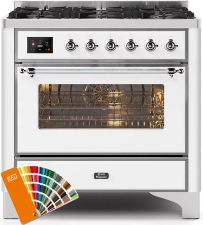 "Majestic II Series Dual Fuel Range with 6 Burners   3.55 cu. ft. Oven Capacity   Chrome Trim   in Custom RAL Color""UM096DNS3RALC 36 - America Best Appliances, LLC"