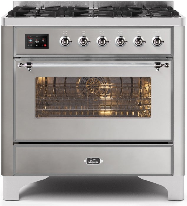 "Majestic II Series Dual Fuel Range with 6 Burners   3.55 cu. ft. Oven Capacity   Chrome Trim   in Stainless Steel""UM096DNS3SSCLP 36 - America Best Appliances, LLC"
