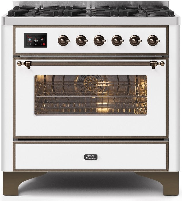 "Majestic II Series Dual Fuel Range with 6 Burners   3.55 cu. ft. Oven Capacity   Bronze Trim   in White""UM096DNS3WHB 36 - America Best Appliances, LLC"