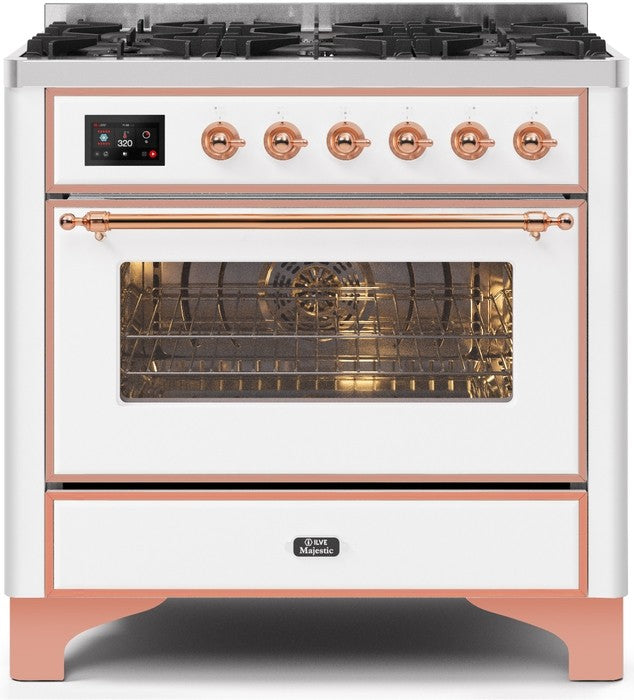 "Majestic II Series Dual Fuel Range with 6 Burners   3.55 cu. ft. Oven Capacity   Copper Trim   in White"" UM096DNS3WHP 36 - America Best Appliances, LLC"