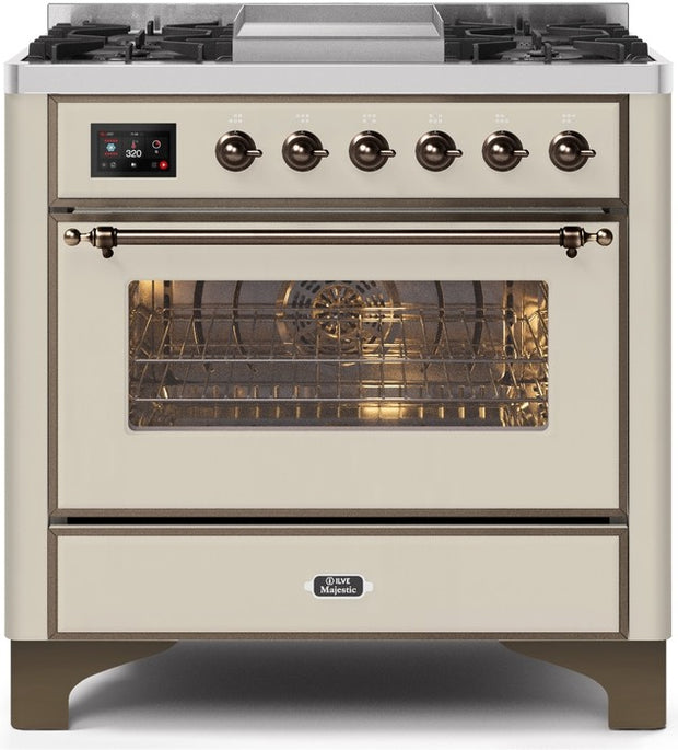 "Majestic II Series Dual Fuel Range with 4 Burners and Griddle   3.5 cu. ft. Oven Capacity   TFT Oven Control Display   Triple Glass Cool Door Oven   Bronze Trim  in Antique White""UM09FDNS3AWB 36 - America Best Appliances, LLC"