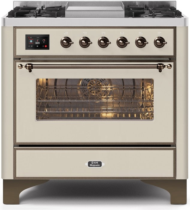 "Majestic II Series Dual Fuel Range with 4 Burners and Griddle   3.5 cu. ft. Oven Capacity   TFT Oven Control Display   Triple Glass Cool Door Oven   Bronze Trim   in Antique White"" UM09FDNS3AWBLP 36 - America Best Appliances, LLC"