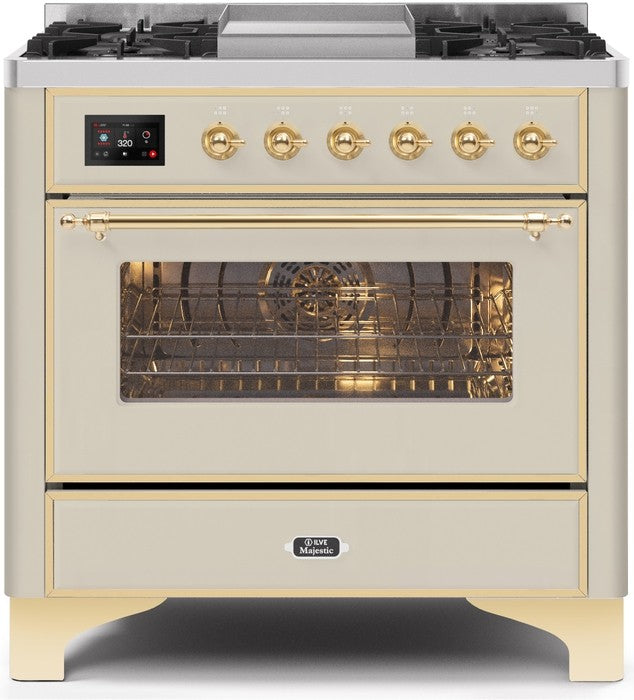 "Majestic II Series Dual Fuel Range with 4 Burners and Griddle   3.5 cu. ft. Oven Capacity   TFT Oven Control Display   Triple Glass Cool Door Oven   Brass Trim   in Antique White""UM09FDNS3AWG 36 - America Best Appliances, LLC"