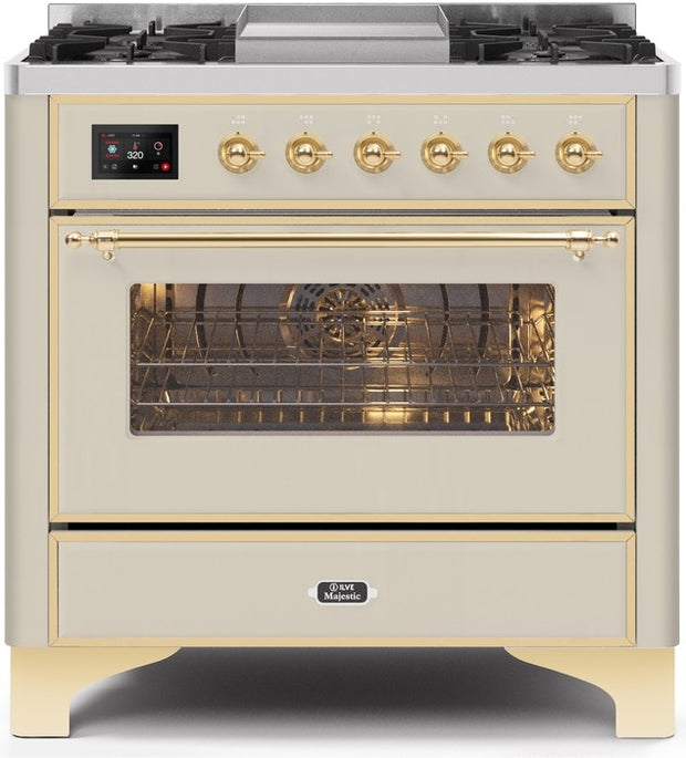 "Majestic II Series Dual Fuel Range with 4 Burners and Griddle  3.5 cu. ft. Oven Capacity   TFT Oven Control Display  Triple Glass Cool Door Oven  Brass Trim   in Antique White""UM09FDNS3AWGLP 36 - America Best Appliances, LLC"