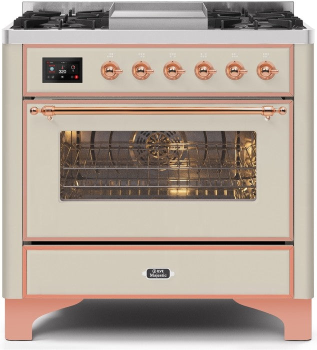 "Majestic II Series Dual Fuel Range with 4 Burners and Griddle   3.5 cu. ft. Oven Capacity   TFT Oven Control Display   Triple Glass Cool Door Oven   Copper Trim   in Antique White""UM09FDNS3AWP 36 - America Best Appliances, LLC"