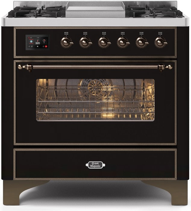 "Majestic II Series Dual Fuel Range with 4 Burners and Griddle   3.5 cu. ft. Oven Capacity   TFT Oven Control Display   Triple Glass Cool Door Oven   Bronze Trim   in Glossy Black""UM09FDNS3BKBLP 36 - America Best Appliances, LLC"