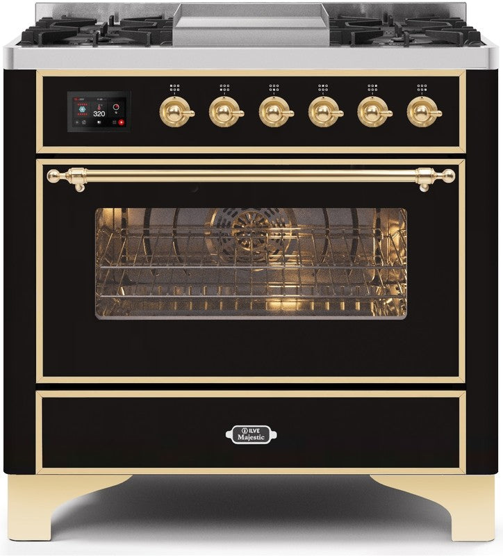 "Majestic II Series Dual Fuel Range with 4 Burners and Griddle   3.5 cu. ft. Oven Capacity   TFT Oven Control Display   Triple Glass Cool Door Oven   Brass Trim  in Glossy Black""UM09FDNS3BKG 36 - America Best Appliances, LLC"