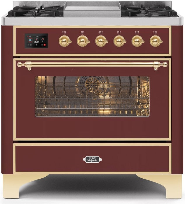 "Majestic II Series Dual Fuel Range with 4 Burners and Griddle   3.5 cu. ft. Oven Capacity   TFT Oven Control Display   Triple Glass Cool Door Oven   Brass Trim   in Burgundy""UM09FDNS3BUGLP 36 - America Best Appliances, LLC"