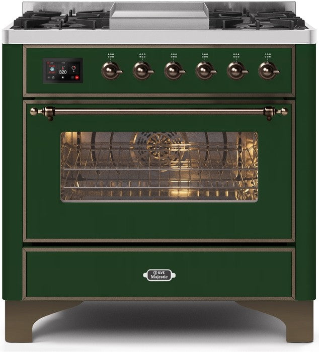 "Majestic II Series Dual Fuel Range with 4 Burners and Griddle   3.5 cu. ft. Oven Capacity   TFT Oven Control Display   Triple Glass Cool Door Oven   Bronze Trim   in Emerald Green""UM09FDNS3EGB 36 - America Best Appliances, LLC"