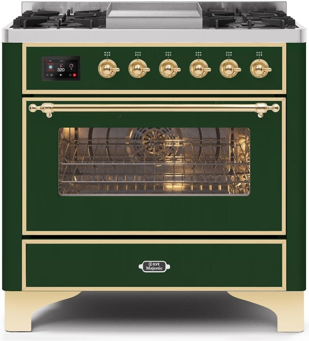 "Majestic II Series Dual Fuel Range with 4 Burners and Griddle   3.5 cu. ft. Oven Capacity   TFT Oven Control Display   Triple Glass Cool Door Oven   Brass Trim   in Emerald Green"" UM09FDNS3EGGLP 36 - America Best Appliances, LLC"