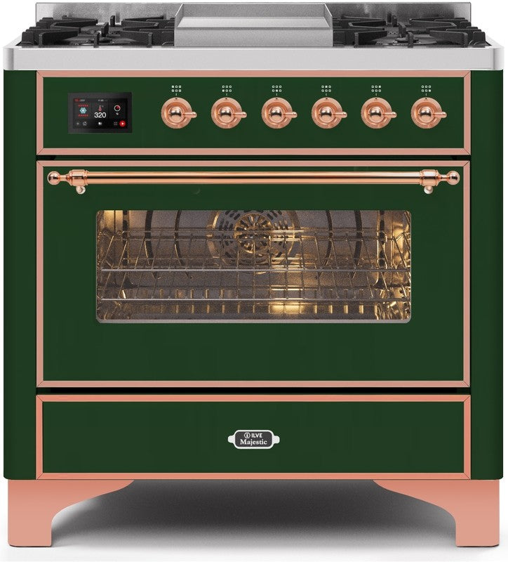 "Majestic II Series Dual Fuel Range with 4 Burners and Griddle   3.5 cu. ft. Oven Capacity   TFT Oven Control Display   Triple Glass Cool Door Oven   Copper Trim   in Emerald Green"" UM09FDNS3EGPLP 36 - America Best Appliances, LLC"