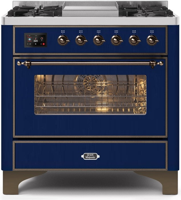 "Majestic II Series Dual Fuel Range with 4 Burners and Griddle   3.5 cu. ft. Oven Capacity   TFT Oven Control Display   Triple Glass Cool Door Oven   Bronze Trim   in Midnight Blue"" UM09FDNS3MBBLP 36 - America Best Appliances, LLC"