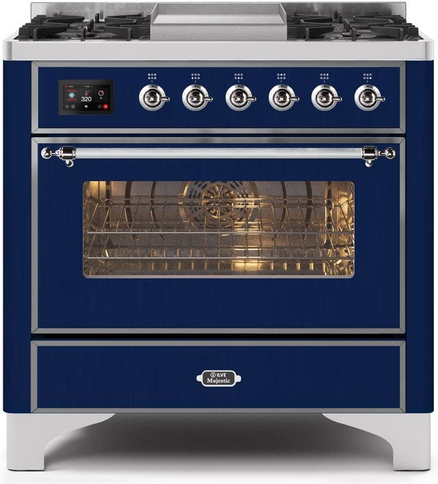 "Majestic II Series Dual Fuel Range with 4 Burners and Griddle   3.5 cu. ft. Oven Capacity   TFT Oven Control Display   Triple Glass Cool Door Oven   Chrome Trim   in Midnight Blue"" UM09FDNS3MBCLP 36 - America Best Appliances, LLC"