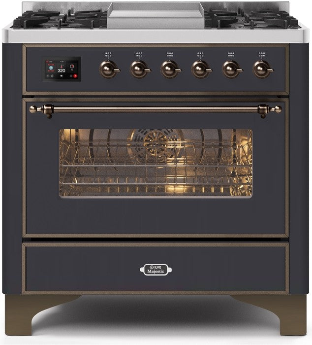 "Majestic II Series Dual Fuel Range with 4 Burners and Griddle   3.5 cu. ft. Oven Capacity   TFT Oven Control Display   Triple Glass Cool Door Oven   Bronze Trim   in Matte Graphite"" UM09FDNS3MGBLP 36 - America Best Appliances, LLC"